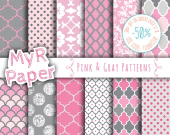 "Pink gray digital paper: ""Pink & Gray Patterns"" digital paper pack and backgrounds with scallops, damask,dots in pink, gray and white"