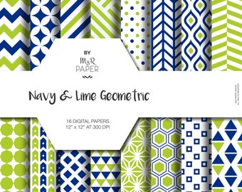 """Geometric Digital Paper Pack: """"Navy & Lime"""" geometric patterns for scrapbooking, invites, cards - printable - Backgrounds"""