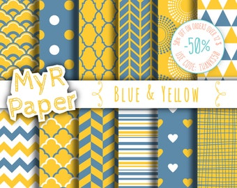 "Digital paper: ""Blue & Yellow"" pack for scrapbooking, invite, card – fans, japanese, dots, hearts, stripes, chevron, moroccan"
