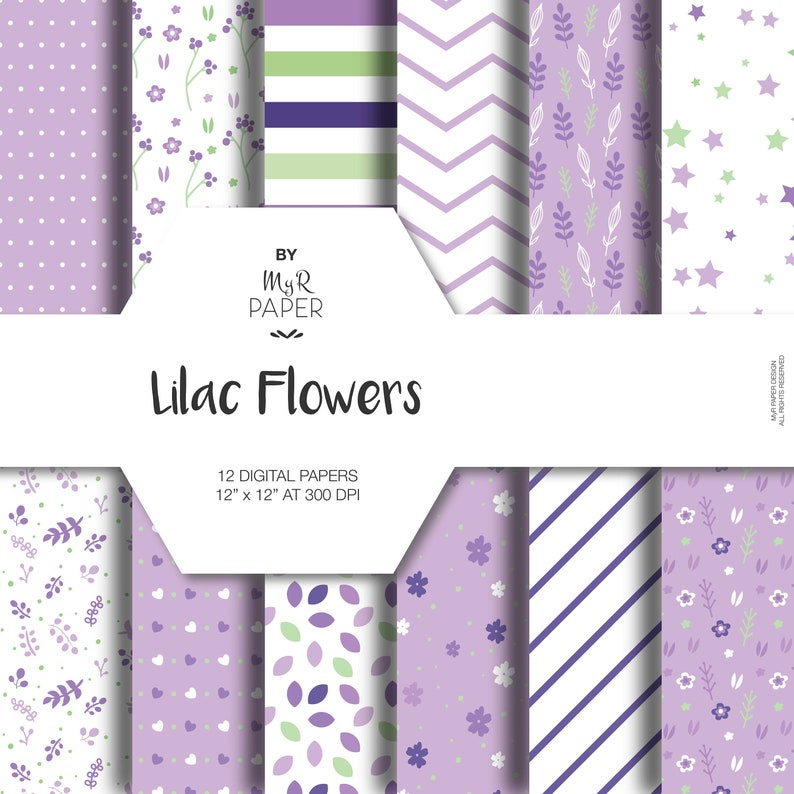 Lilac Digital Paper: Lilac Flowers pack of image 0