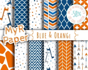 "Giraffe digital paper: ""Blue & Orange"" giraffes pack of backgrounds with papers - zig zag, chevron, moroccan, arrow, scallop"