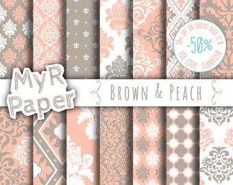 """damask digital paper: """"Brown & Peach"""" digital paper pack with damask backgrounds and patterns for scrapbooking"""