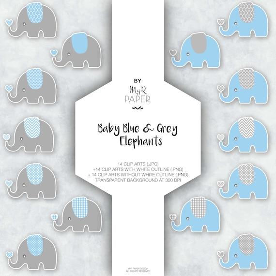 Elephant Clipart Baby Blue Grey Elephants On Transparent Etsy