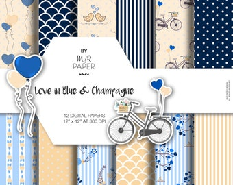"""Balloon - Bird - Bike - Valentines Digital Paper: """"Love in Blue & Champagne"""" scrapbooking, invite, card – perfect for Shabby projects"""