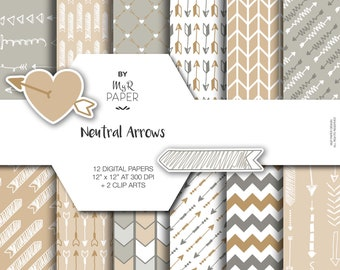 """2 Clipart + Arrow digital paper: """"Neutral Arrows"""" backgrounds in Beige and Gray with arrows, chevron, zig zag - Printable - Instant Download"""