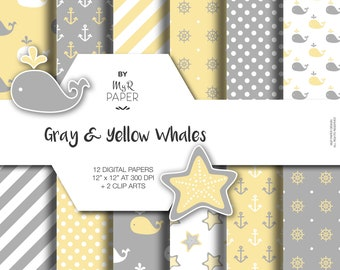 """2 Clipart + Digital Paper: """"Gray & Yellow Whales"""" backgrounds with anchor, rudder, ship'swheel, whale, starfish. Digital Scrapbooking"""