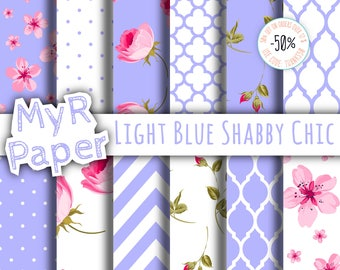 "Shabby Chic Digital Paper: ""Light Blue Shabby Chic"" romantic scrapbook background - Instant Download – perfect for wedding invites, cards"