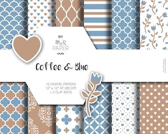 "Romantic digital paper + 2 ClipArt: ""Coffee & Blue"" seamless pattern, digital scrapbooking, invite, card - Instant Download, printable"