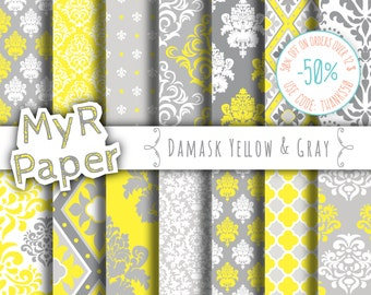 "Digital paper damask: ""DAMASK YELLOW & GRAY"" digital paper pack with Yellow and Grey damask backgrounds for scrapbooking"