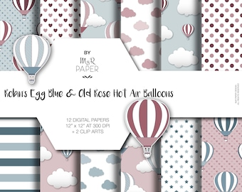 """2 Clipart + Hot Air Balloons Digital Paper: """"Robin's Egg Blue & Old Rose"""" perfect for invites, cards, vintage project and baby shower"""