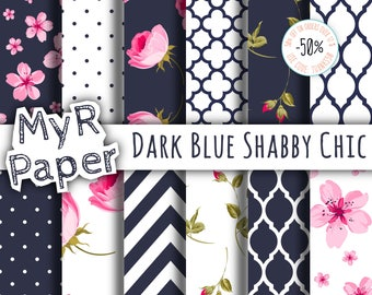 "Shabby Chic Digital Paper: ""Dark Blue Shabby Chic"" romantic scrapbook background - Instant Download – perfect for wedding invites, cards"