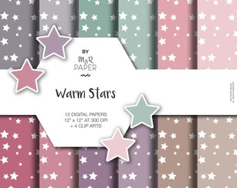 "4 ClipArt + Star Digital Paper Pack: ""Warm Stars"" - Printable Background - starry, white stars, Baby Shower - 12x12 - Digital Scrapbooking"