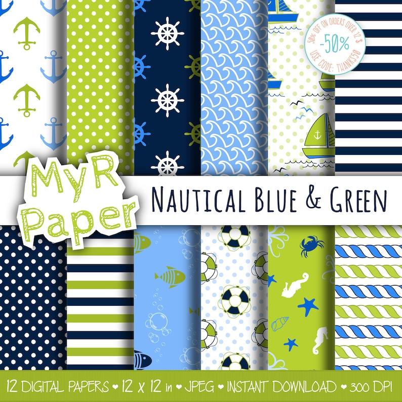 Digital Paper Pack: Nautical Blue & Green patterns image 0