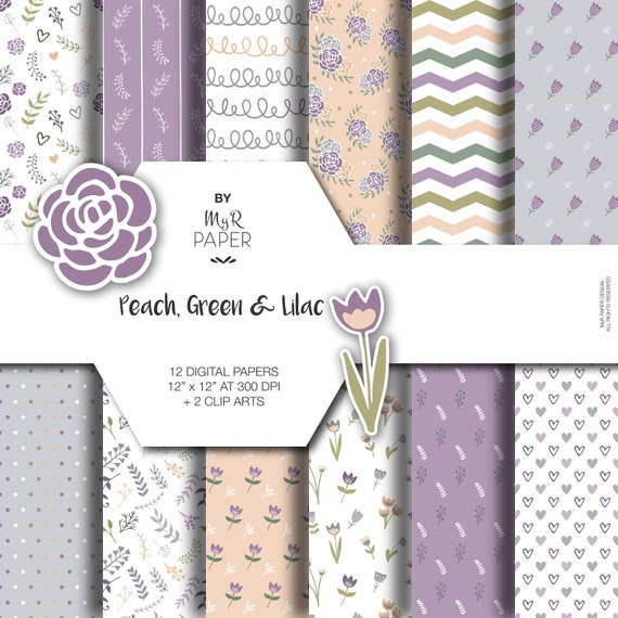 2 Clipart doodle flowers: Peach tulip with bloom Digital Paper floral invite Green /& Lilac perfect for scrapbooking card leaf