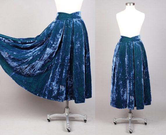 Vintage Blue Green Velvet Handmade Austria Skirt |