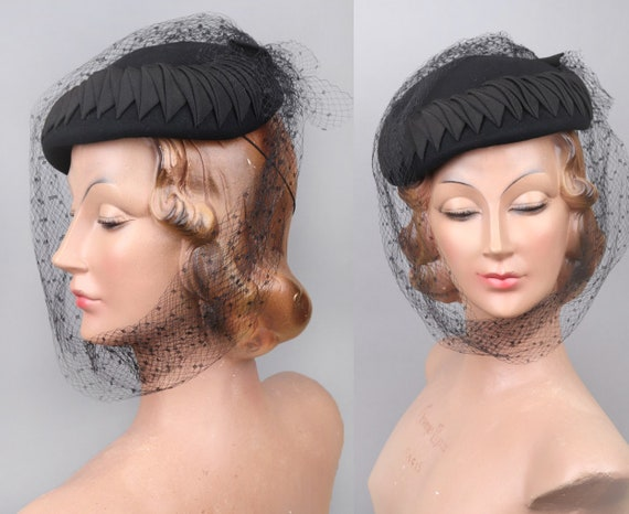 Vtg Late 1940s Fourties Black Long Veil Felt Hat