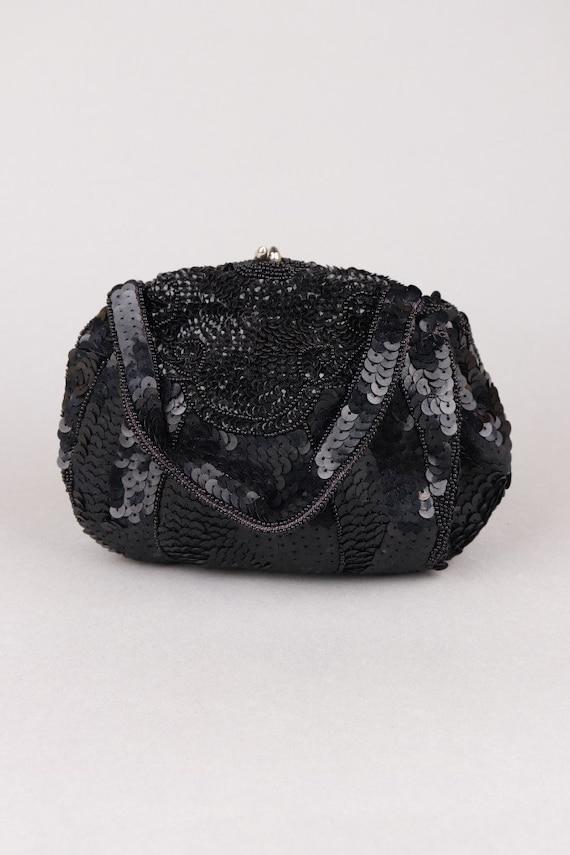 Vtg 1950s Handmade Black Art Deco Style Sequin and