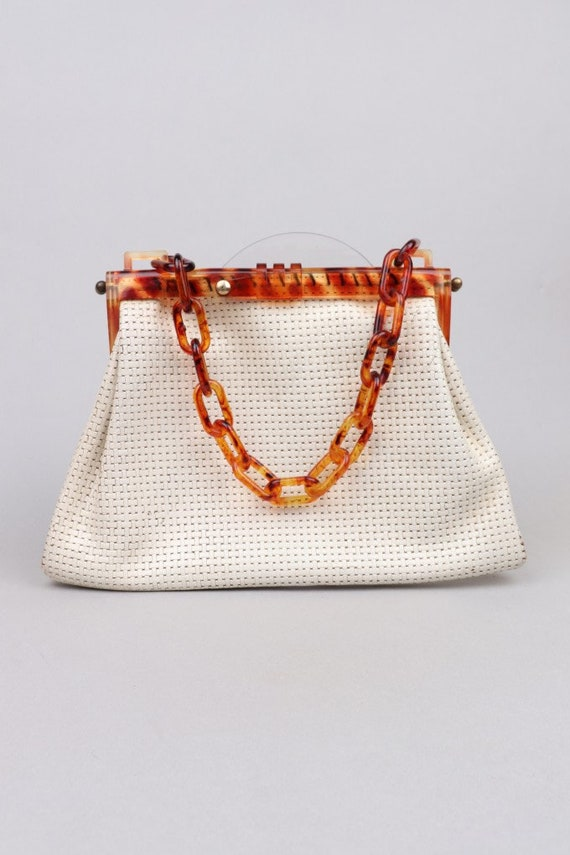 Vtg 50s -60s Lucite Tortoise Chain Link Bag