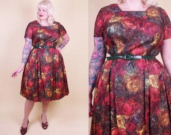 Abstract Aquarel 50/60s Dress Plus Size Vintage Dress XXL