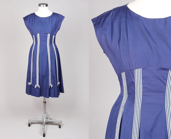 Vtg 1950s 50s Fifties Deep Blue White Striped Bow
