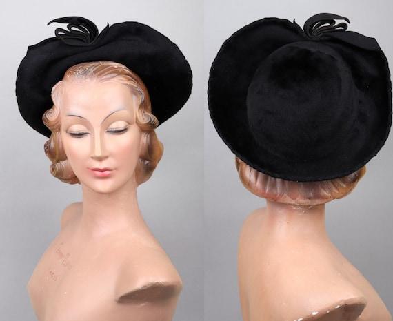Vintage Fourties 40s Black Felt Wide Brim Halo Hat
