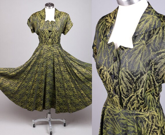 VTG Late 1940s Black Green 'Spanish Moss' Dress Fo