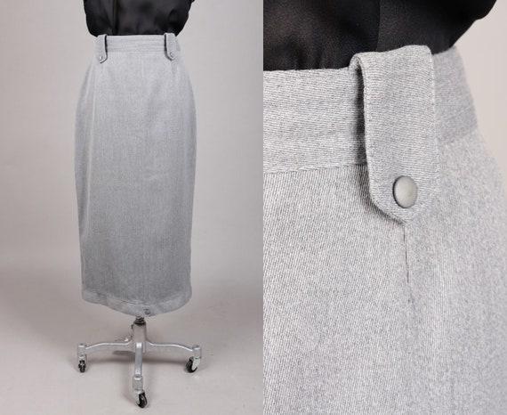 Vtg 1970s Long Grey Pencil Skirt 40s style   S