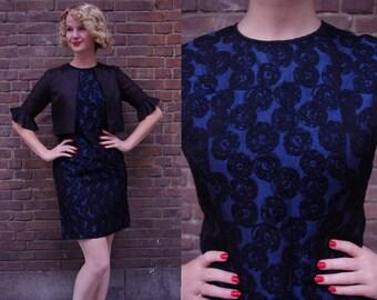Vtg Blue 'n Black Lace 60s Wiggle Dress M