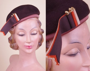 Vintage 60s Brown Felt Beret Style Hat