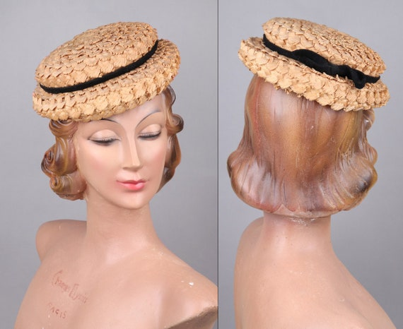 Vtg 1950s Coarse Woven Straw Hat 50s Summer Hat Wi