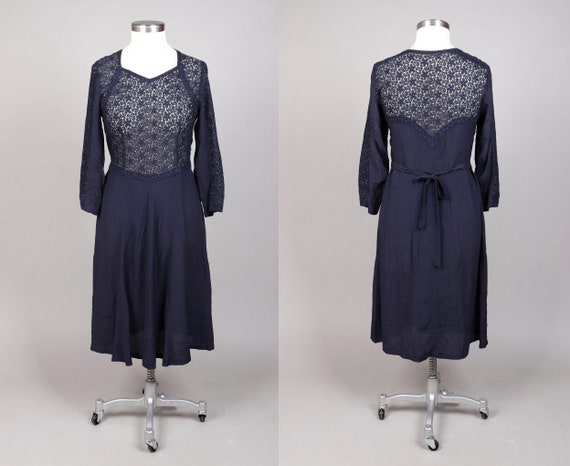 Vtg 1940s Navy Blue Floral Lace Dress | M