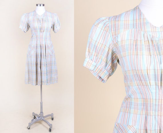 Vtg 30s 40s Checkered Cotton Day Dress | XS – Peti