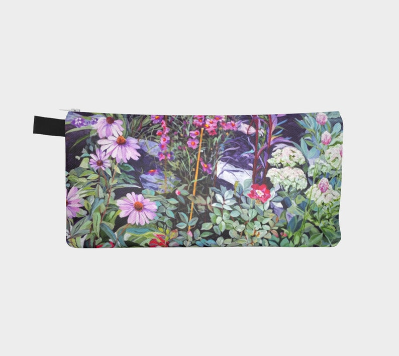 Versatile Floral Treasure Pouch Mini Clutch Pencil Case reproduced from an original acrylic painting Organizer featuring coneflowers
