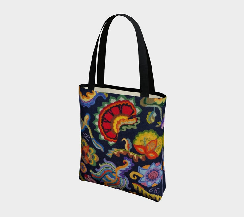 Shopping Bag features crewel designs digitally reproduced from an original hooked rug by Kris Noble Carryall Versatile Floral Art Tote Bag
