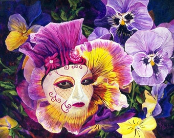 """Original Acrylic Painting of a Venetian Masked Flower Face Morphing From a Field of Pansies, """"Mirror, Mirror""""  by Kris Noble of KNobleStudio"""