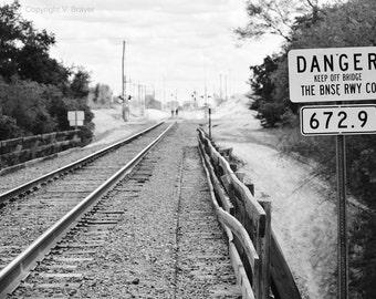 Train Bridge Photo - Train Tracks, Black and White