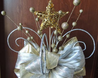 Star Christmas Tree Topper Bow - Silver Star tree topper - Gold Star tree topper - Christmas Bow