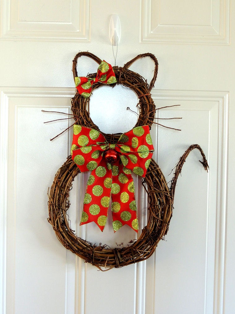 Grapevine Cat Christmas Wreath Whimsical Christmas Wreath