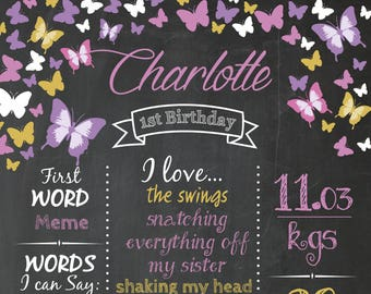 First Birthday Chalkboard Poster File Ready to Print Custom Personalised Party Butterflies
