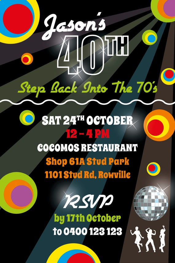 birthday invitations 40th milestone party invite 70s theme etsy
