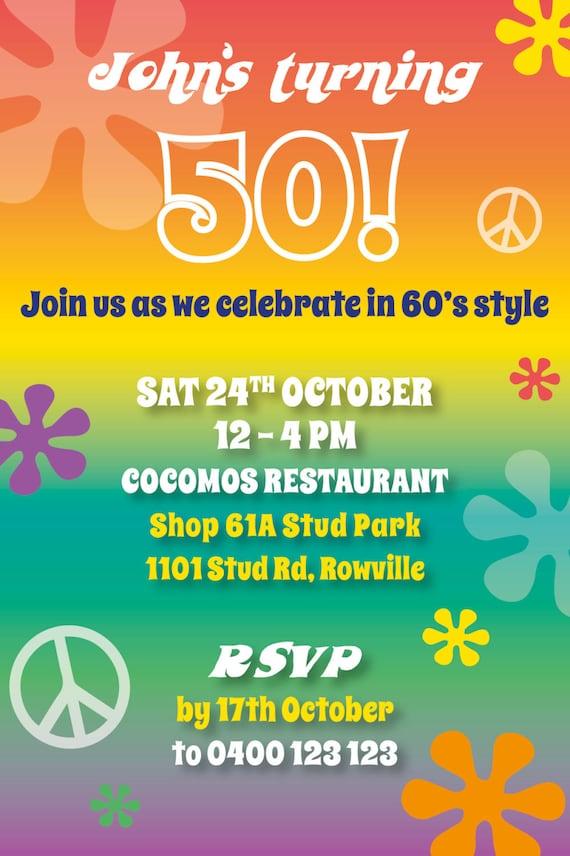 Birthday Invitations 50th Milestone Party Invite 60s theme
