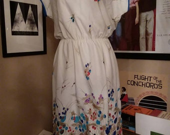1980s Patterned Summer Dress