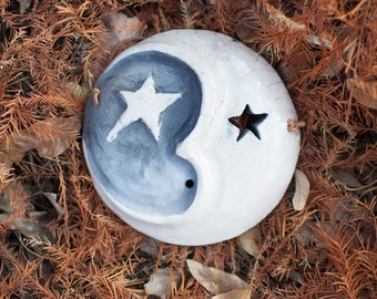 "Raku Moon Mask - 6"""
