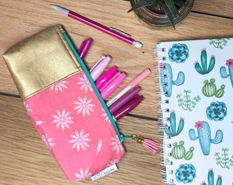 Pencil Pouch - Gold Vinyl Pouch - Pink and Gold Pouch