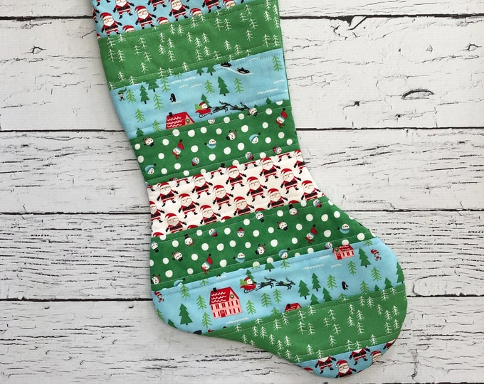 Quilted Stocking - The North Pole -Green