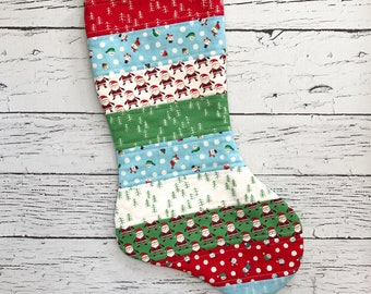Quilted Stocking - The North Pole - Red and Green