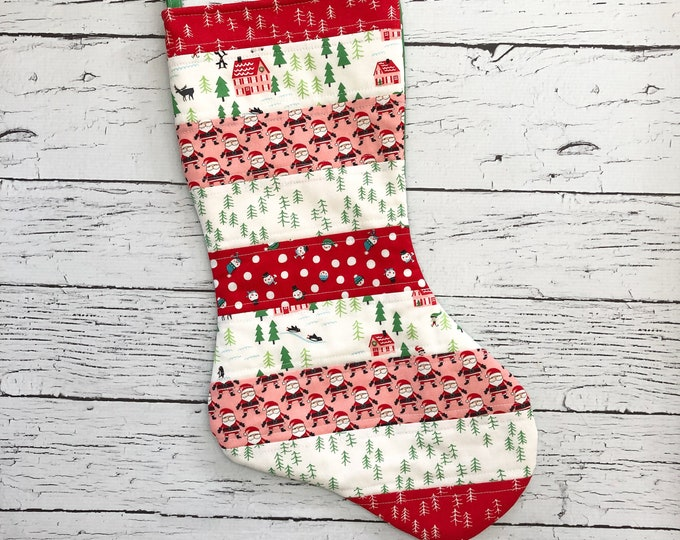 Quilted Stocking - The North Pole - Red and Pink