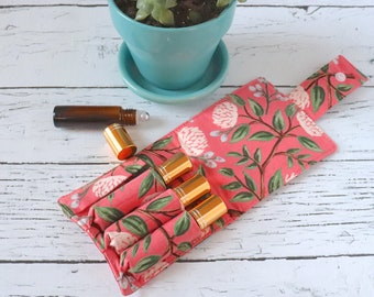 Essential Oil Wallet - Pink Flowers - Wildwood - Rifle Paper Co Fabric - 4 Pack
