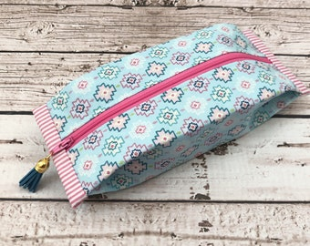 Popcorn Pouch - Shapes - Light Blue and Pink