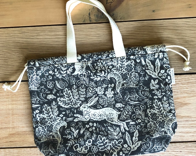 Drawstring Bag - Tote Bag - Project Bag - Bunny
